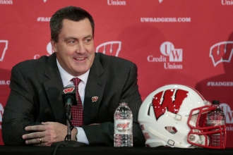Paul Chryst, Wisconsin's new football coach, speaks during an a NCAA college football news conference at the Nicholas-Johnson Pavilion in Madison, Wis., Wednesday, Dec. 17, 2014. (AP Photo/Wisconsin State Journal, M.P. King)